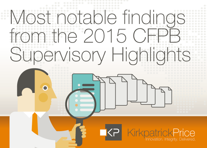 Most Notable Findings from the 2015 CFPB Supervisory Highlights
