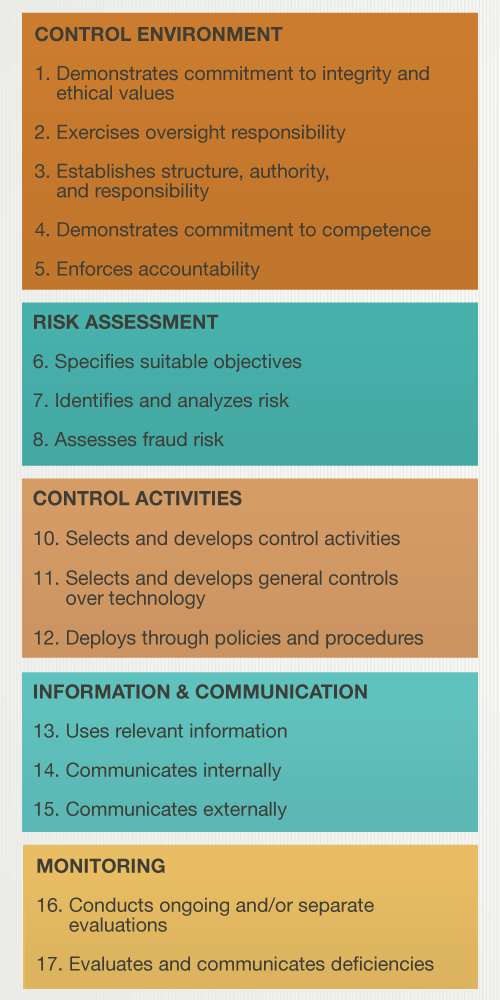 What are the 17 Principles of Internal Control?